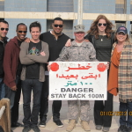 Dave Price, Jordan Black, Jeremy Rowley, Cedric Yarbrough, SM Bentson, Colleen Smith, & Karri Turner in Iraq in 2011